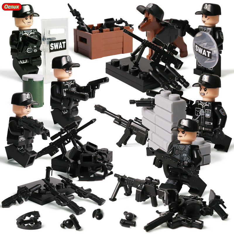 Oenux 6PCS Modern Mini City Police Soldiers Figures Building Block Brick Compatible With Legoings Educational Toy For Children