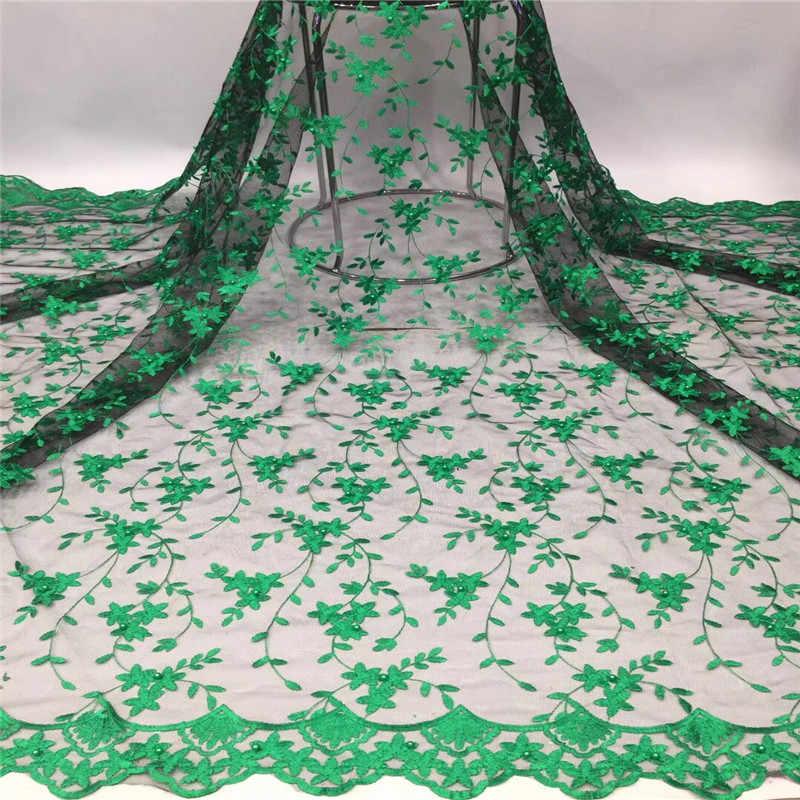2019 Latest Nigeriano Laços Tecidos verde rosa de Alta Qualidade Laços de Tecido Para O Vestido de Casamento Africano Francês Lace Tulle Com Contas
