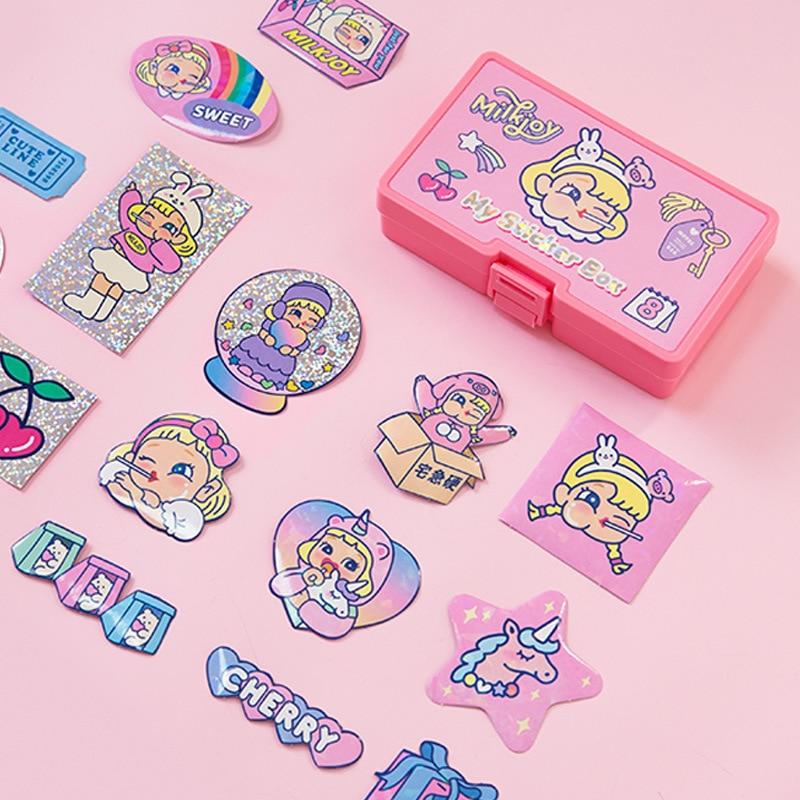 16 Pcs/set Waterproof Laser Decorative Stickers Cute Girly Heart Stickers Album Trunk Journal Stickers + Sticker Storage Box