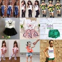 Fashion Baby Girls 2pcs Outfits Clothes Letter Print Sleeveless T-shirt Tops+Print Short Pants+Headband Set roupa menina