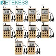 Retekess 10 шт v112 fm am 2 диапазона радио мини приемник портативный