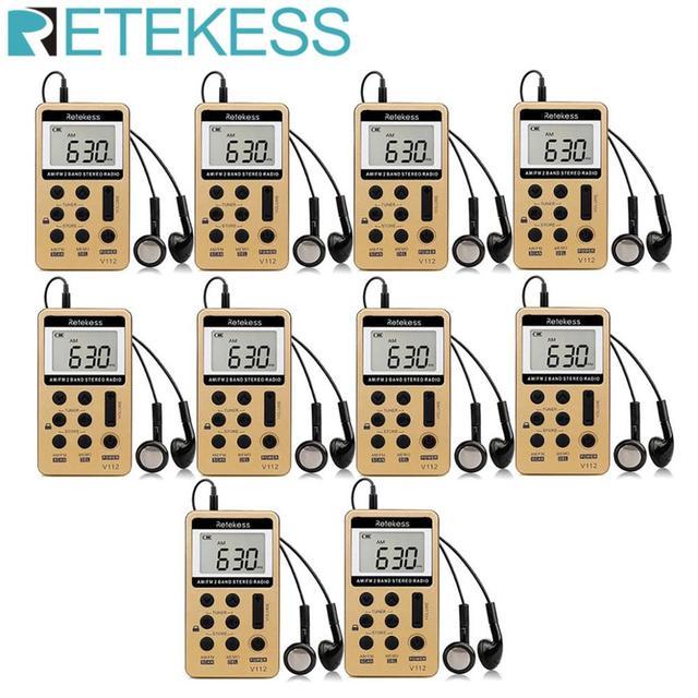 RETEKESS 10Pcs V112 FM AM 2 להקת רדיו מיני מקלט נייד דיגיטלי כוונון רדיו מקלט עם נטענת סוללה & אוזניות