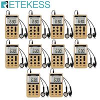 RETEKESS 10Pcs V112 FM AM 2 Band Radio Mini Receiver Portable Digital Tuning Radio Receiver With Rechargeable Battery & Earphone