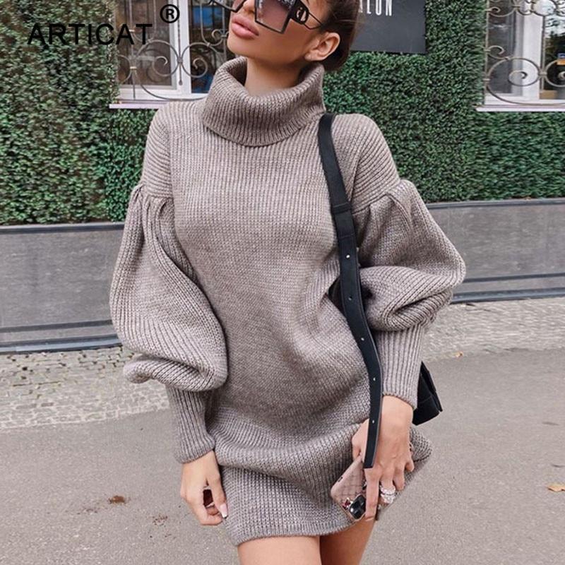 Женское вязаное платье свитер Articat, свободное теплое хлопковое платье с высоким воротником и длинным рукавом, в уличном стиле, на зиму|Платья| | АлиЭкспресс
