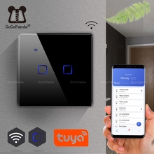 EU Standard 1 Way Wifi Switch Remote Voice  Control Wall Light Controller Smart Home Automation Touch Google Gome Tuya