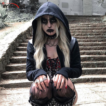 InstaHot Black Hooded Drawstring Zipper Up Gothic Punk Darkness Long Sleeve Sweatshirt Halloween Festival Top