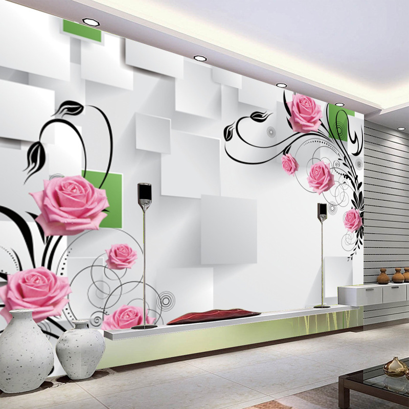 3D Simple Rose TV Background Wallpaper Large Mural Wallpaper Sofa Living Room Bedroom Nonwoven Fabric