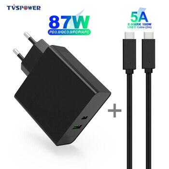 2 порта 87 Вт USB-C адаптер питания QC3.0 1 порт USB 12 Вт Настенный чейнджер для Macook Pro 8/X/11 Pro USB-C ноутбуков S8/S10 меняющий черный