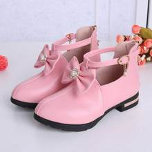 Fashion Girls Boots Leather Princess Shoes Lace Bow Children Shoes Autumn New Warm Kids Snow Boots Girls Shoes(China)