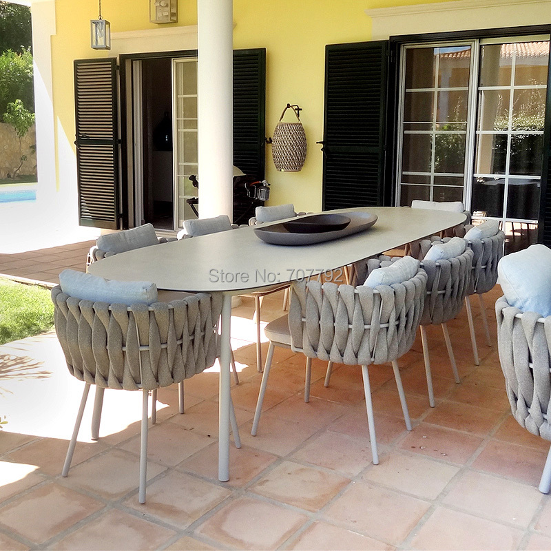 patio garden woven rope dining table furniture outdoor