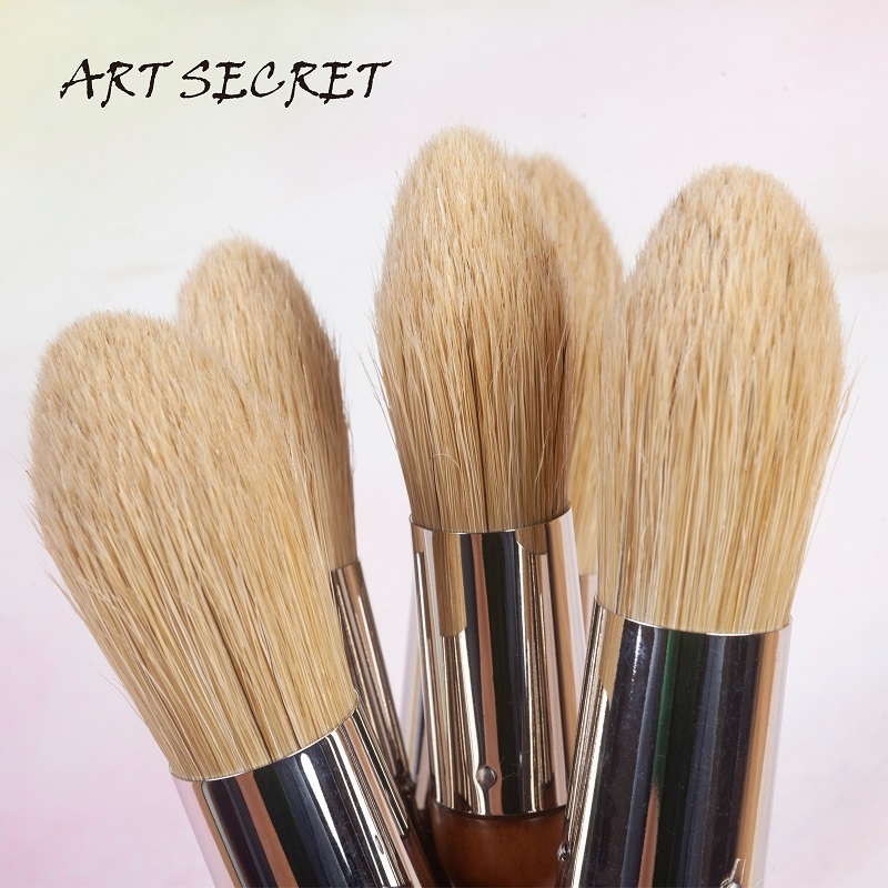 BCW-01 Acrylic  Oil Artist Brush Large Stencil Brush High Quality  Hog Bristle Wooden Handle Paint Brush Art Supplies