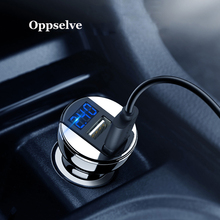 Oppselve 2.4A Dual USB Car Charger LED Display Universal Phone Car-Charger For Xiaomi Samsung S8 S9 S10 iPhone X 8 7 Plus Tablet