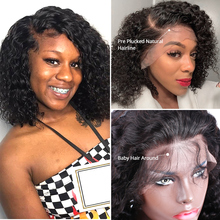 Short Bob Deep Wave 180 Density Lace Front Human Hair Wig Pre Plucked Brazilian Kinky Curly Frontal Natural Water Wigs