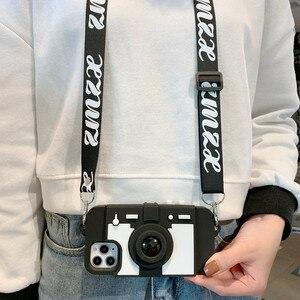 Image 5 - IPhone 6s için 6 8 7 artı 11 11Pro Max X XR XS Max telefon kılıfı FHX LY güzel 3D kamera yumuşak silikon crossbody askısı telefon kılıfı