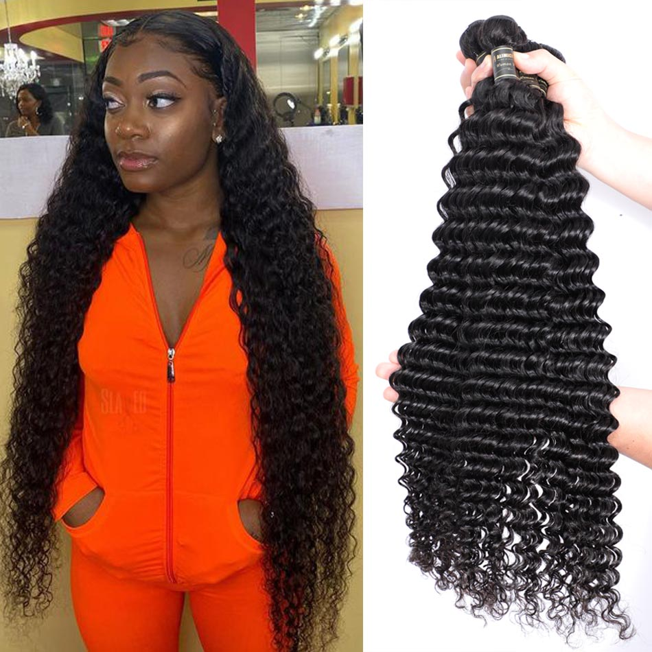 Alimice 30inch Deep Wave Bundles Brazilian <font><b>Hair</b></font> Weave Bundles 100% Human <font><b>Hair</b></font> Bundles Natural Color Non-remy <font><b>Hair</b></font> Weave 1/3/4 PC image