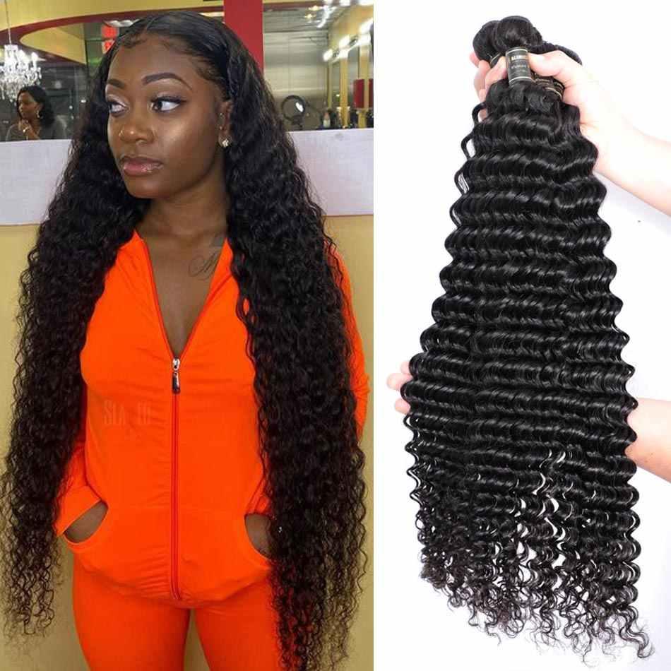 Alimice cabelo profundo ondulado 30 polegadas, pacotes de cabelo brasileiro 100%, cor natural do cabelo não-remy tecelagem 1/3/4 pc