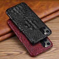 Caso de couro genuíno para o iphone 11 pro max voltar caso luxo cabeça croc saco do telefone capa para o iphone 11pro max caso, CKHB-OP