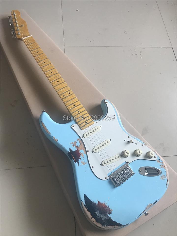Offre spéciale guitare électrique relique de construction principale, détails vieillis faits à la main guitare bleue de haute qualité