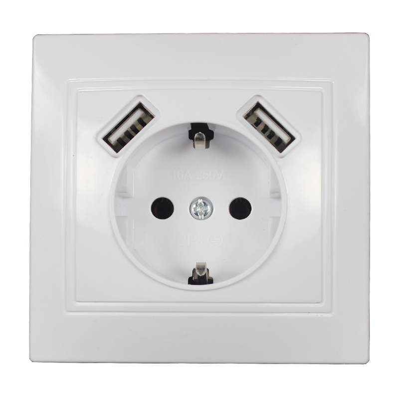 Wall Electronic Socket Eu Standard Power Outlet With Dual Home Usb Plug, Charger Power Socket With Usb 5V2A L5-01