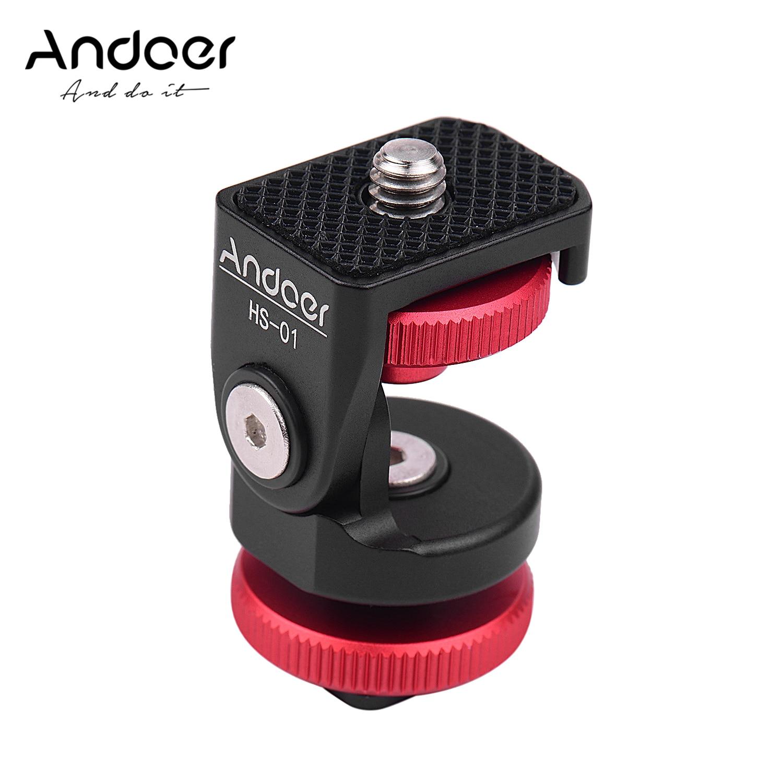 Andoer HS-01 sapato frio suporte adaptador de montagem titular da liga alumínio com 1/4 Polegada parafuso para led luz monitor vídeo dslr câmera