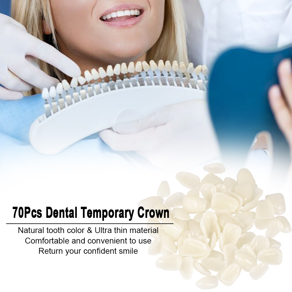 70Pcs Dental Temporary Crown Ultra-Thin Tooth Patch Resin Porcelain Materials For Anterior Teeth Molar Teeth Veneers Provisional