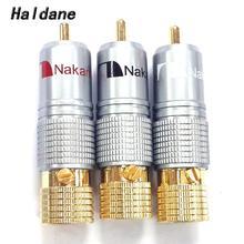 Haldane 8 ชิ้น/ล็อต Nakamichi RCA ปลั๊กขั้วต่อ 24K ทองชุบสกรู Soldering ล็อค Audio ปลั๊ก RCA