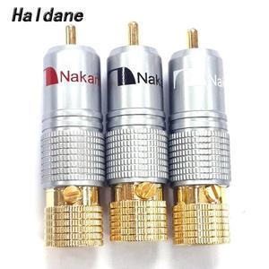 Image 1 - Haldane 8 adet/grup Nakamichi RCA fiş Ses Kablosu Konektörü 24K Altın Kaplama Vidalar Lehimleme Kilitleme Ses RCA fiş s