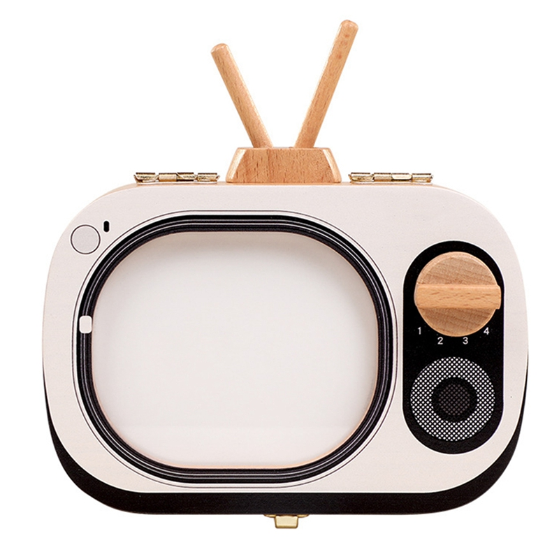 Hot-Baby Tooth Keepsake Box Wooden Teeth Box Tv Shaped Tooth Keepsake Box Teeth Storage Keepsakes Announcements Collecting Gift,