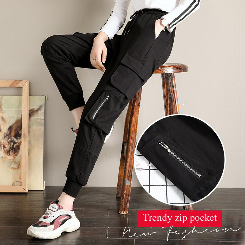 EACHIN Women's Casual Cargo Pants Female Plus Size Steetwear Ankle Length Trousers Fashion Loose Joggers Sweatpants