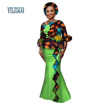 African Lantern Sleeve Tops and Skirt Sets for Women Bazin Riche Traditional African Print Clothing 2 Pieces Skirt Sets WY3144