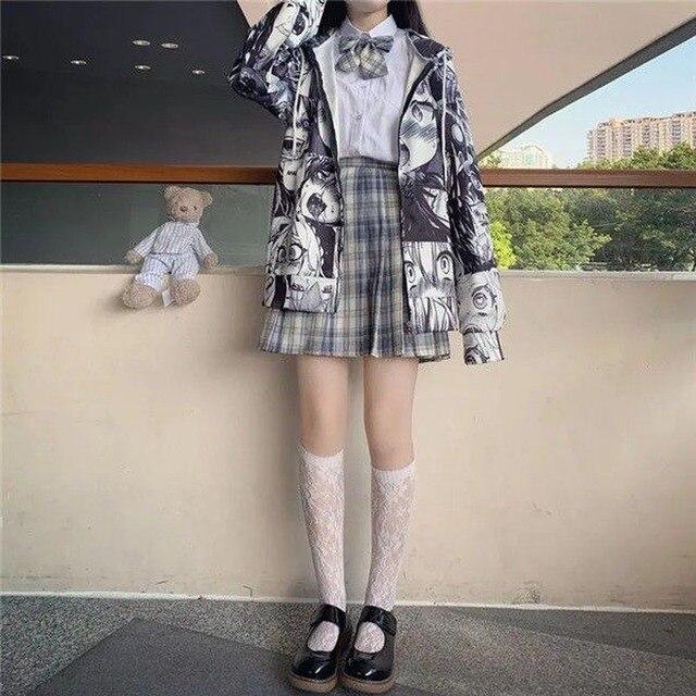 QWEEK Japanese Harajuku Anime Hoodie Hentai Zip Up 2021 Fashion Streetwear Women Kawaii Sweatshirts Korean Long sleeve Tops 6