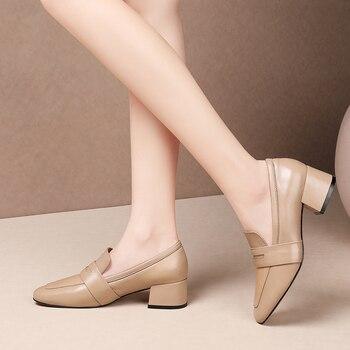Karinluna 2020 Dropship Top Quality Big Size 43 Genuine Leather Slip On Office Lady Chunky Heels Women Shoes Woman Pumps Female