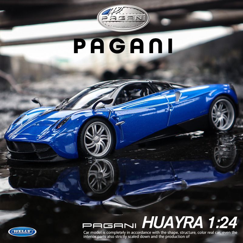 Welly 1:24 Pagani Blue  Car Alloy Car Model Simulation Car Decoration Collection Gift Toy Die Casting Model Boy Toy