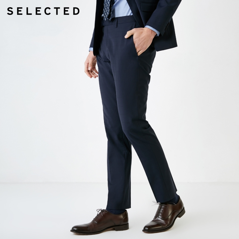 SELECTED Men's Slim Fit Slightly Stretch Sheep Wool Business Casual Woolen Suit Pants T|41916B502