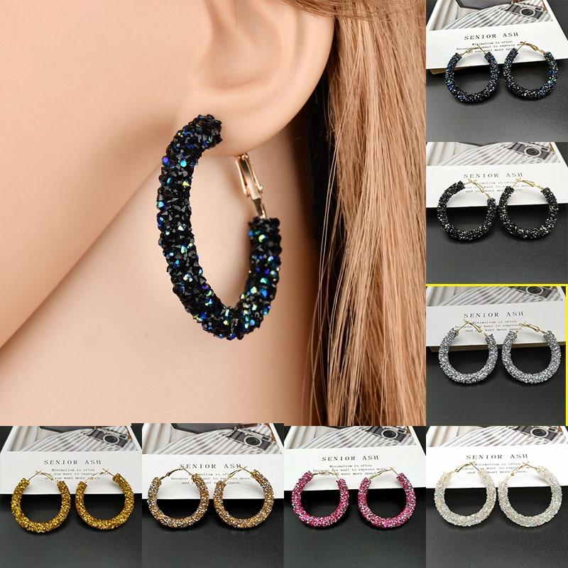 Vintage Korean Big Earrings For Women Female Fashion Gold Cubic Zirconia Drop Dangle Earring Geometric Earings Jewelry 2019
