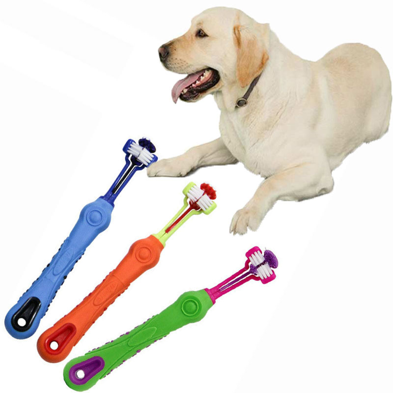 Hot Sale Three Sided Pet Toothbrush Dogs Brush Addition Bad Tartar Teeth Care Cat Cleaning Mouth Toothbrush Cleaning Supplies