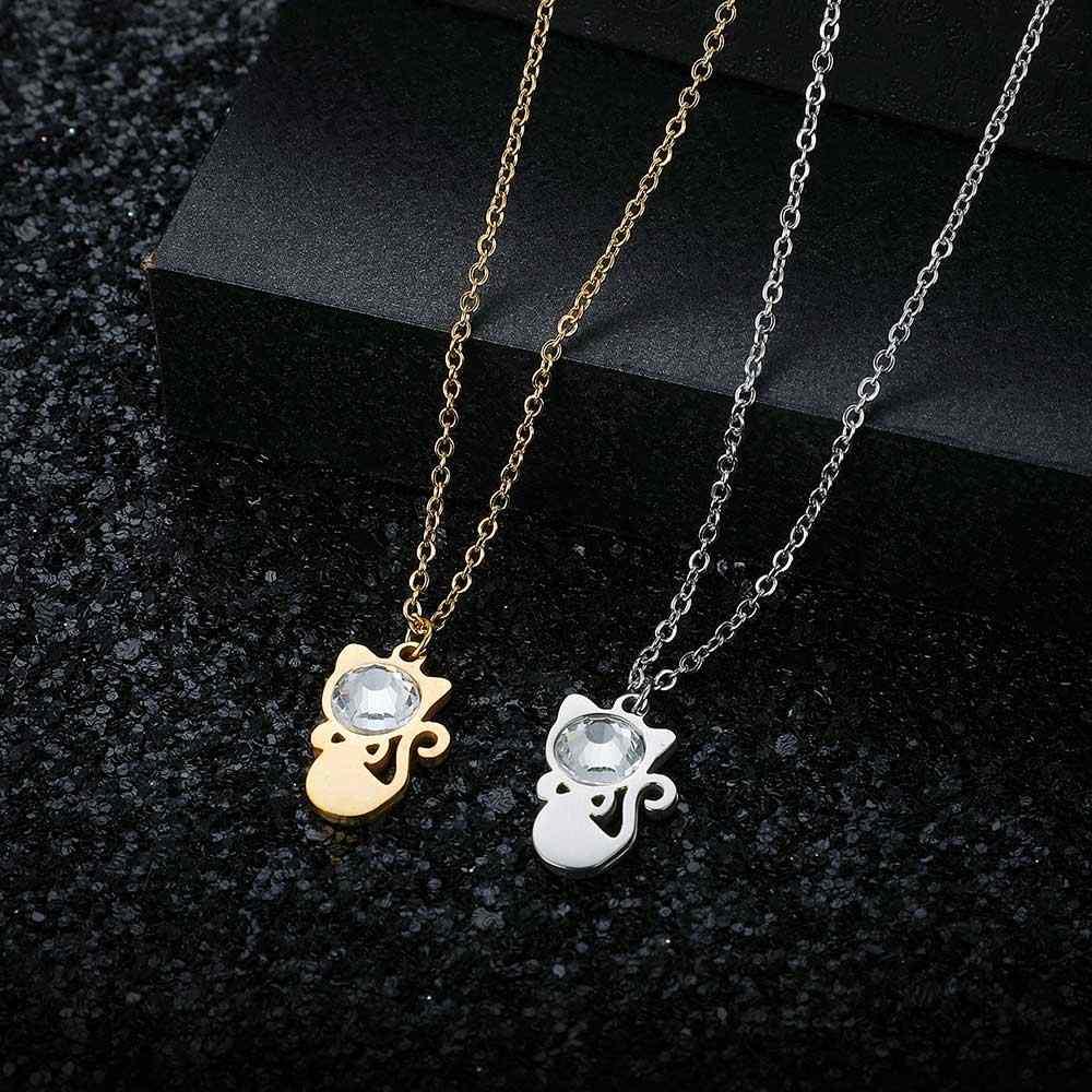 Super moda duży kryształowy kamień 100% ze stali nierdzewnej kot urok naszyjnik wysokiej polski specjalny prezent hurtowo