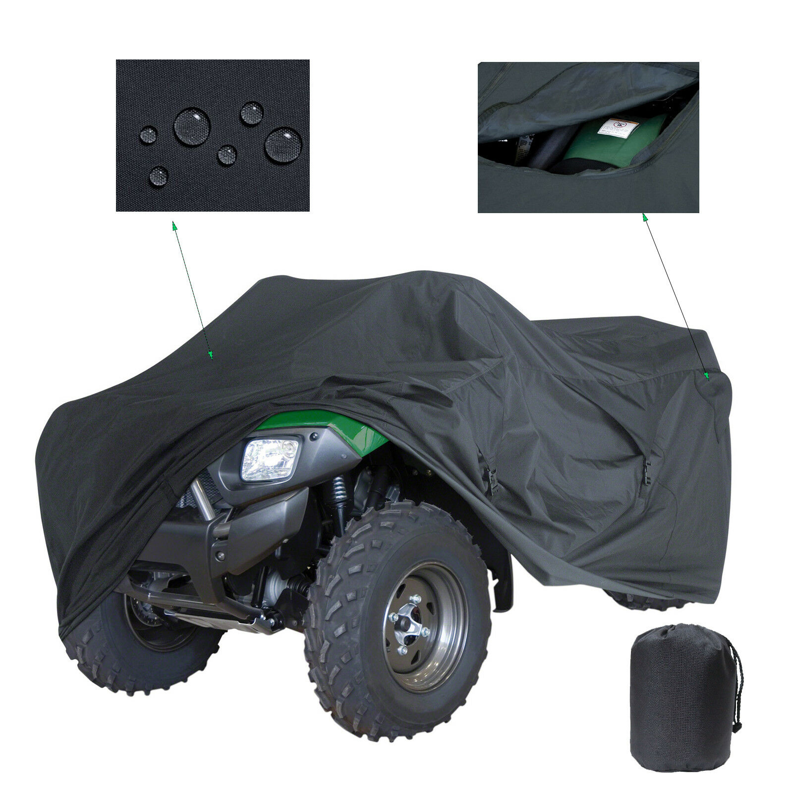 Lightweight 190T Polyester Fiber Black Quad Bike ATV 4-wheel Cover For XXXL <font><b>Polaris</b></font> <font><b>Sportsman</b></font> 400 550 700 <font><b>800</b></font> 850 image