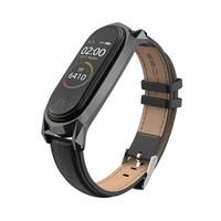 Correa de repuesto para reloj inteligente Xiaomi Mi Band 6/5/4/3, correa de cuero genuino en color negro/marrón/azul con marco