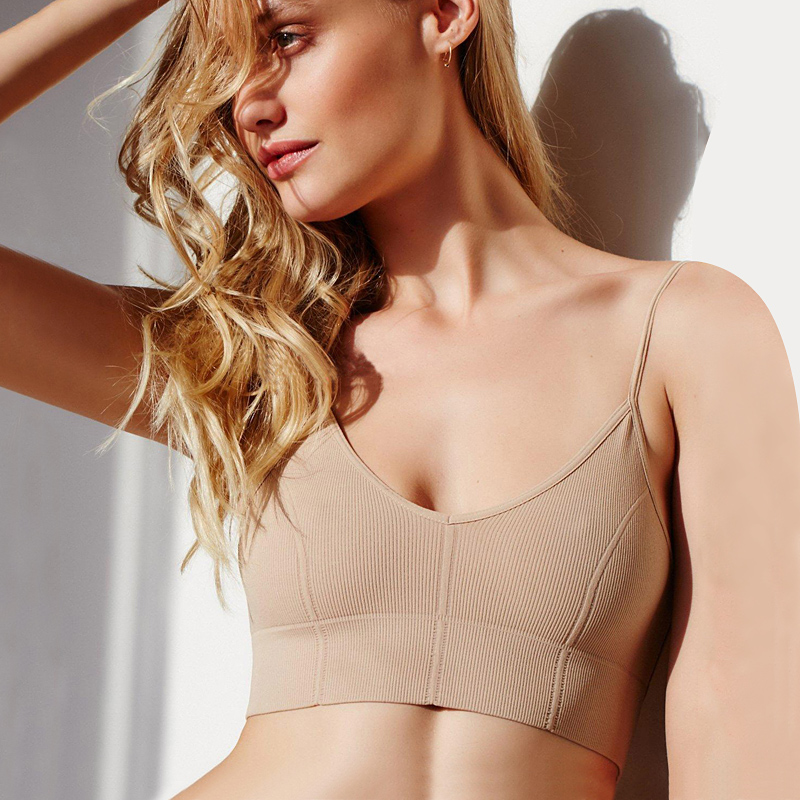 2020 New Sexy Women Underwear Top Bras Hollow Out Ribbed Bra Back U Shape Wire Free Ladies Bralette