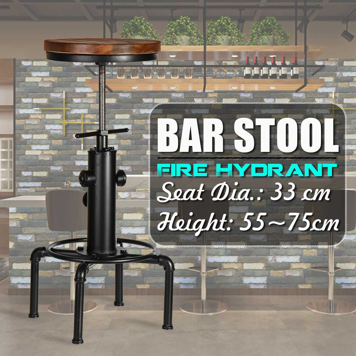 Vintage Metal Industrial Bar Chairs Height Adjustable Swivel Pinewood Top Kitchen Dining Chair Pipe Style Barstool Bar Chairs