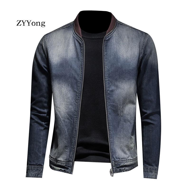 ZYYong Denim Jacket Men's Jacket High Quality Baseball Collar Zipper Denim Jacket Blue Casual Classic Denim Bomber Jacket Men