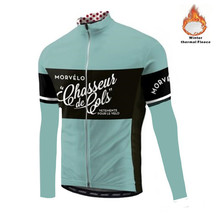 Morvelo Jersey de ciclismo térmico de lana para hombre, Ropa de ciclismo de manga larga, Ropa de bicicleta, maillot cálido, invierno