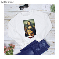 Winter Casual Printed Hoodies Women Clothes Round Neck Long Sleeve Famous Painting Printing Pullover Sweatshirt 2019 FeiDuYoung