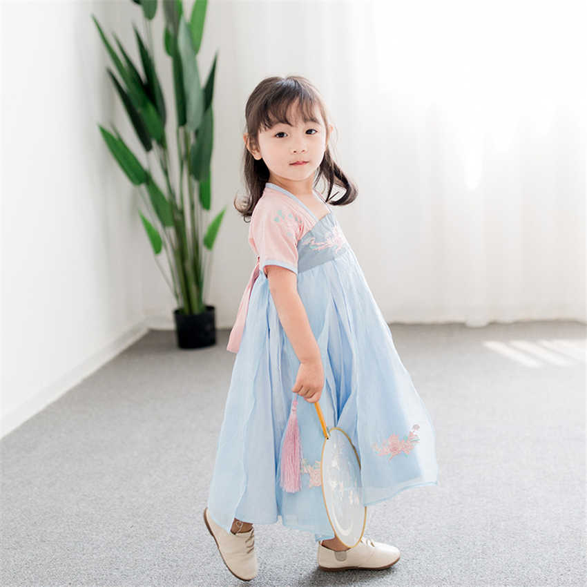 Children Hanbok Dress Girls Korean Style Spring Embroidery Dress Orient Ethnic Wedding Korean Dresses Fashion Outfits for Kids