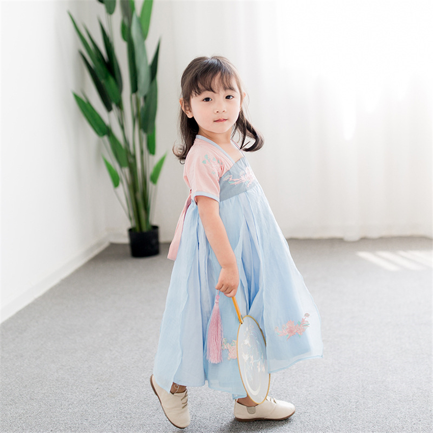 Children Hanbok Dress Girls Korean Style Spring Embroidery Dress Orient Ethnic Wedding Korean Dresses Fashion Outfits For Kids