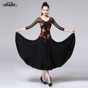Image 3 - Doubul saia moderna mais magro na cintura vestido de dança de salão de baile padrão nacional valsa tango competição traje franja espanhol