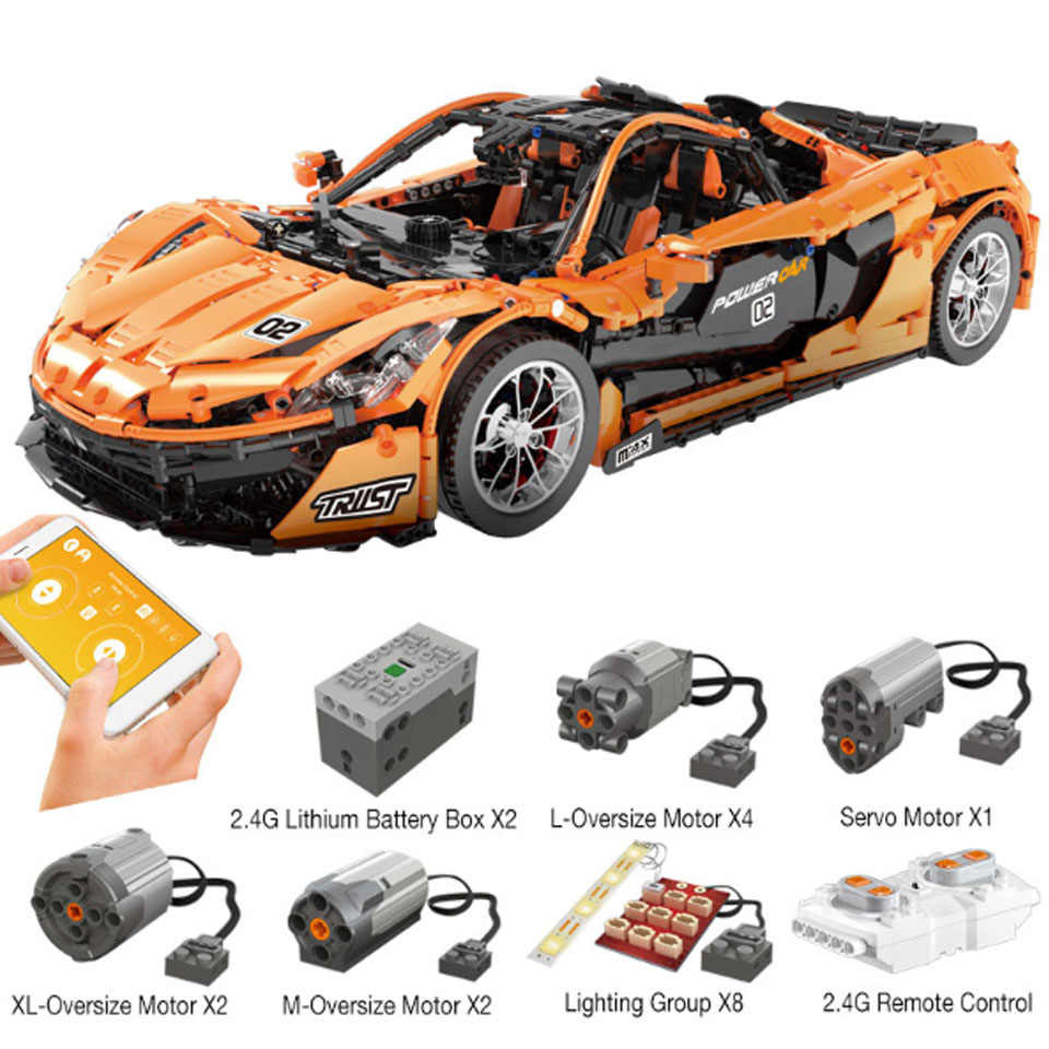 13090 Technic Series P1 Orange Racing Car Set APP RC Model