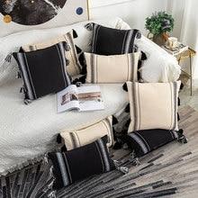 Boho tarzı minder örtüsü siyah fildişi el yapımı nötr dekorasyon yastık örtüsü 45x4 5cm/30x50cm çekyat gri fildişi Diam