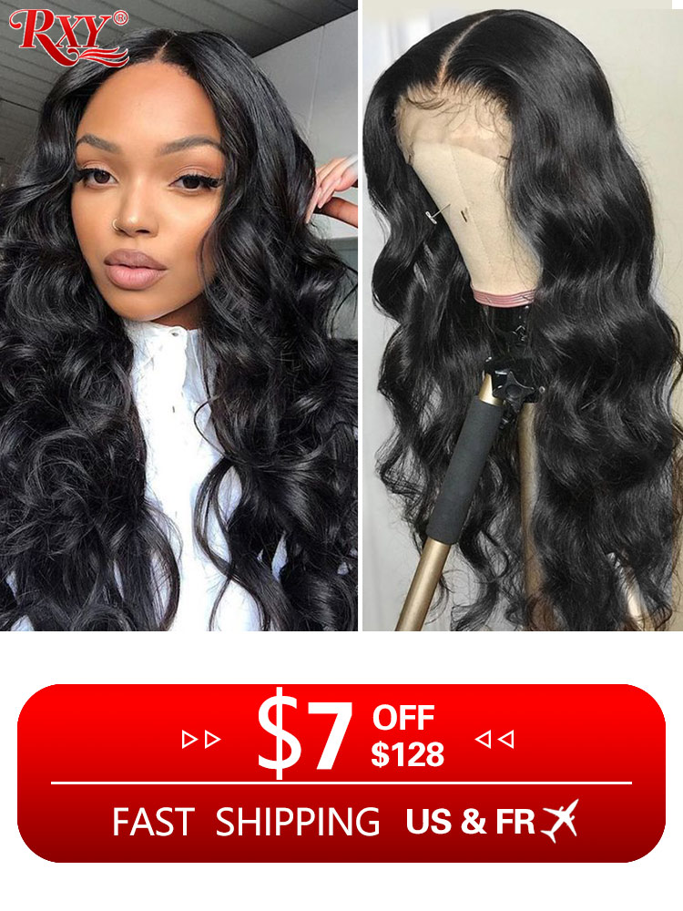 RXY Wig Human-Hair Lace Frontal Body-Wave Preplucked Black Women for 360 Remy-13x6